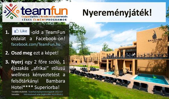 1. Látogasd meg a TeamFun.hu Facebook oldalát! 2. LIKE-old! 3. Oszd meg a nyereményakció képét az ismerőseiddel!